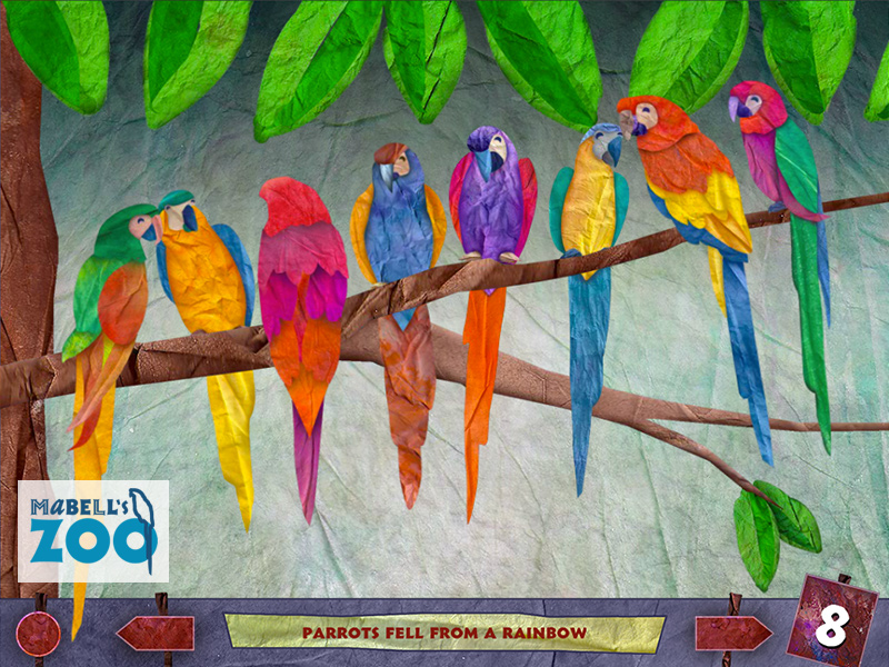 Mabell's Zoo - Eight Parrots